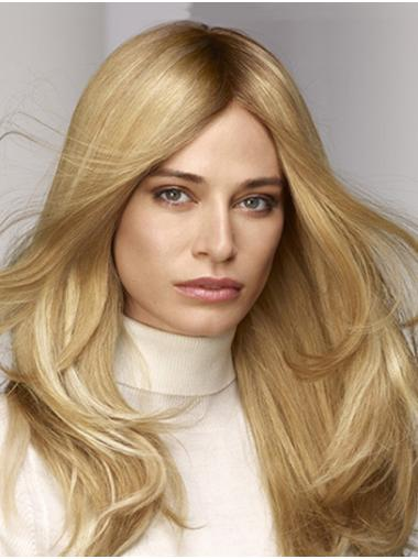 Straight Monofilament Blonde Without Bangs Synthetic Designed Long Wigs