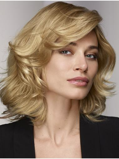 "Lace Front Blonde 12"" Curly Shoulder Length Bobs Human Hair Wig"