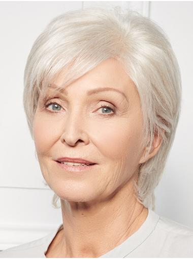 """Straight Monofilament Grey Synthetic 10"""" Layered Short Wig"""