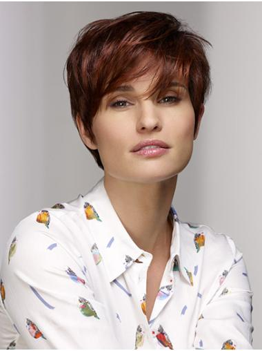 """8"""" Short Straight 100% Hand-tied Auburn With Bangs Synthetic Wigs Sale"""