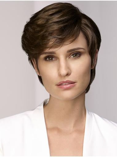 "8"" Short Straight Monofilament Brown With Bangs Synthetic Wigs Online"