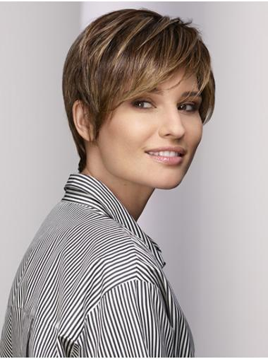 """Straight Brown 8"""" Short Synthetic With Bangs Lace Front Wigs"""