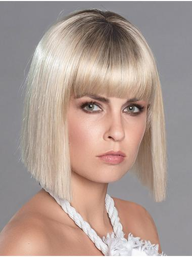 "12"" Straight Monofilament Platinum Blonde Synthetic Chin Length Bobcut Wig"