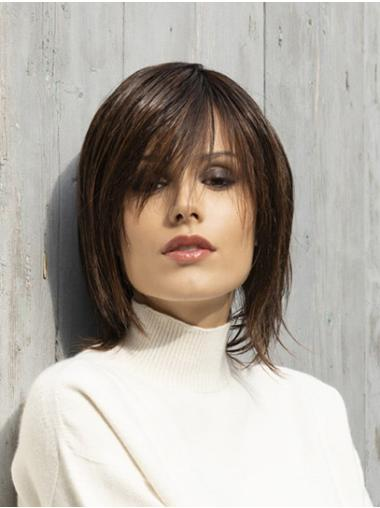 """Straight 12"""" Monofilament Brown Bobs Synthetic Beautiful Medium Wigs"""
