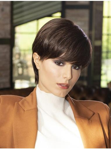 """Straight Monofilament Brown Synthetic 6"""" Boycuts Short Wigs For Sale"""