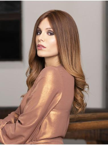 """Monofilament Ombre/2 Tone 18"""" Wavy Long Without Bangs Quality Human Hair Wigs"""