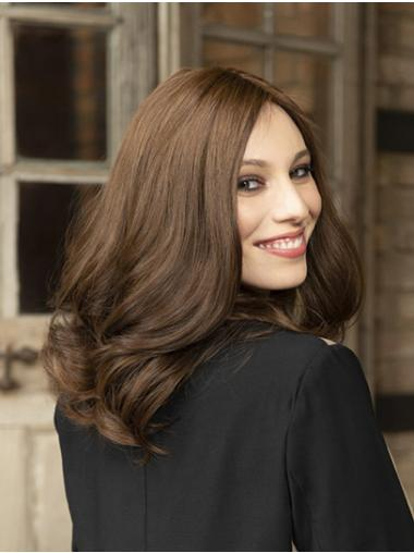 "Wavy Brown 14"" Shoulder Length Synthetic Without Bangs Sleek Lace Front Wigs"