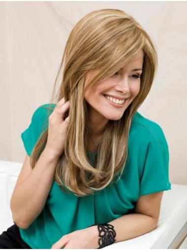Straight Monofilament Blonde Layered Synthetic Long Wigs Natural