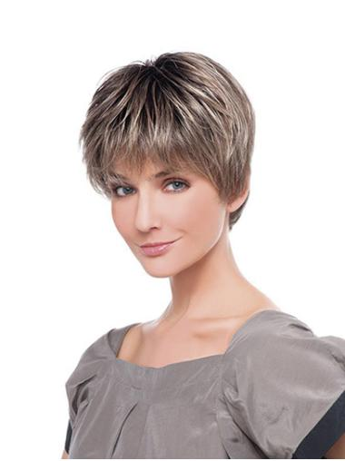 "Straight Monofilament Ombre/2 Tone Synthetic 6"" Layered Natural Short Wigs"