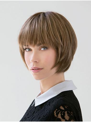 """Straight Blonde 10"""" Chin Length Remy Human Hair Bobs Lace Front Womens Wigs"""