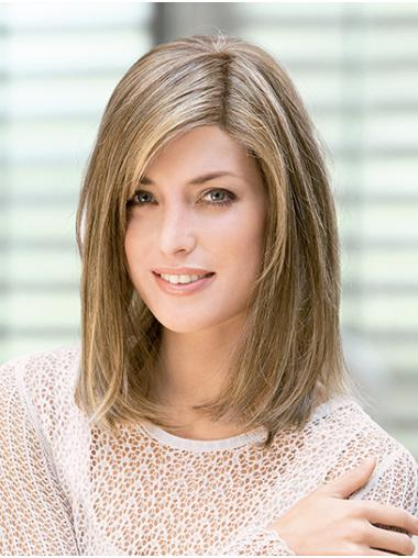 """Straight Shoulder Length Blonde Monofilament 14"""" Without Bangs Perfect Lace Wigs"""