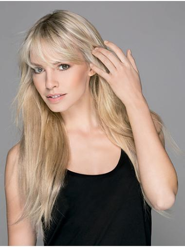 Straight Capless Platinum Blonde With Bangs Synthetic Perfect Long Wigs