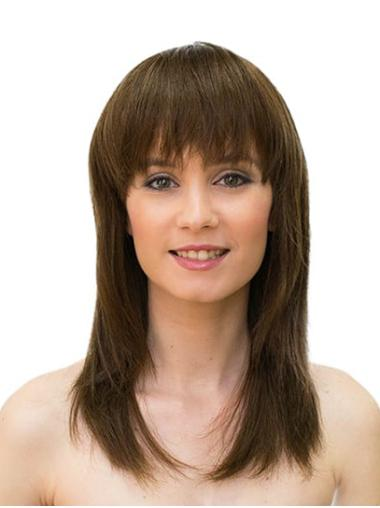 "Monofilament Brown 16"" Straight Long With Bangs Sleek Human Hair Wigs"