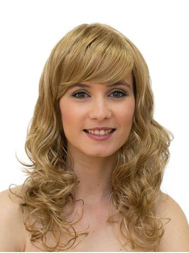 Curly Monofilament Blonde With Bangs Synthetic Ladies Long Wigs