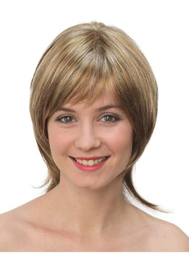 """10"""" Straight Monofilament Blonde Synthetic Chin Length Bob Wigs"""