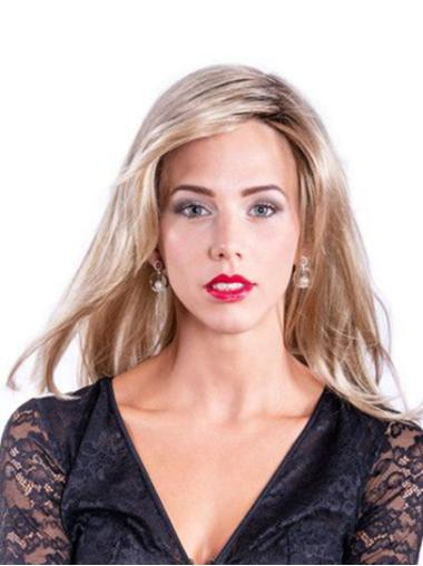 """16"""" Wavy Long Blonde Without Bangs Synthetic Gorgeous Hand Tied Wigs"""