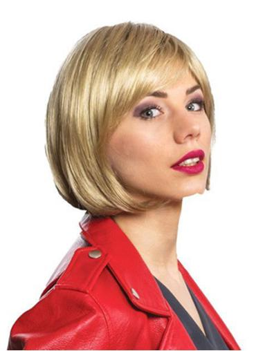 "12"" Straight Monofilament Blonde Synthetic Shoulder Length Ladies Bob Wig"