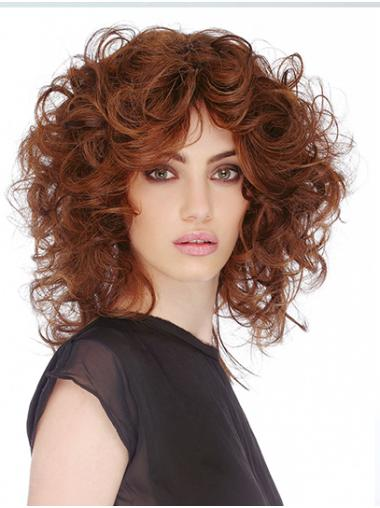 "Curly Shoulder Length Auburn Monofilament 12"" Classic Lace Wigs True"