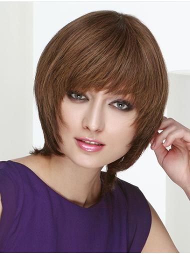 """Straight Chin Length Brown Monofilament 10"""" Layered Lace Wig Buy"""