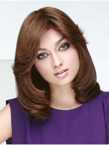 "14"" Wavy Monofilament Brown Remy Human Hair Shoulder Length Bob Wig Women'S Accessories"