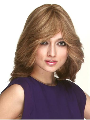 Wavy Shoulder Length Brown Remy Human Hair With Bangs Monofilament Wig