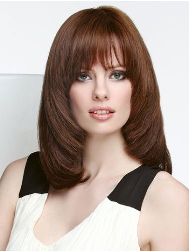 """Straight Shoulder Length Brown Monofilament 14"""" Layered Lace Wigs"""