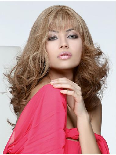 """Monofilament Blonde 18"""" Curly Long With Bangs Human Hair Wig Products"""