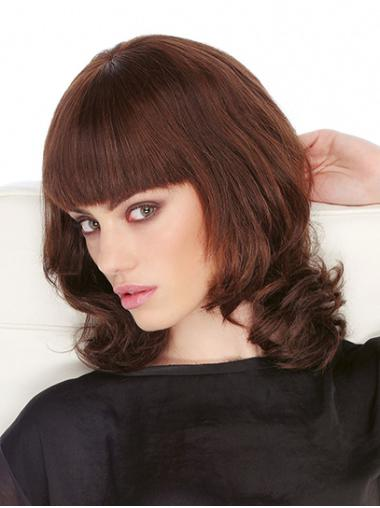 "Monofilament Auburn 14"" Wavy Shoulder Length With Bangs Human Hair Wigs For Women"
