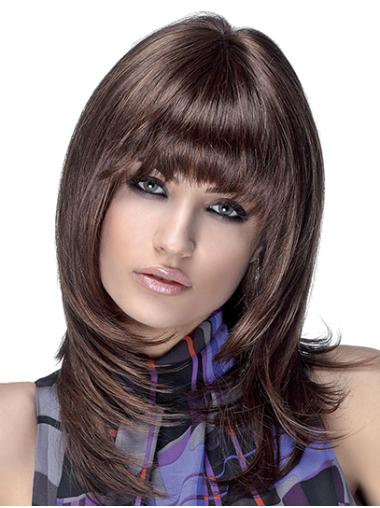 Straight Shoulder Length Brown Synthetic Layered Monofilament Wigs For Women