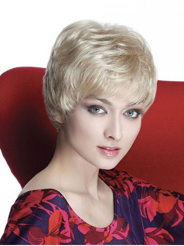 "Wavy Capless Blonde Synthetic 8"" Boycuts Short Wig Styles"