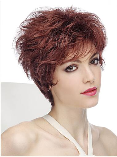 "Wavy Capless Red Synthetic 8"" Classic Short Hair"