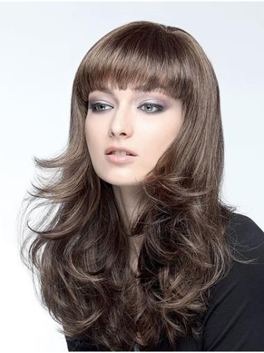 Wavy Capless Brown With Bangs Synthetic Long Hair Wig