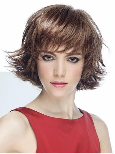 Wavy Short Brown Synthetic With Bangs Mono Wigs