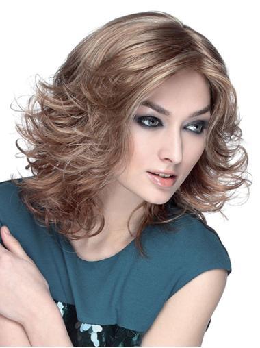 "14"" Wavy Monofilament Brown Synthetic Shoulder Length Bob Fashion Wigs"