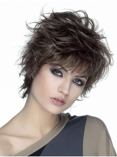 """Wavy Monofilament Brown 8"""" Synthetic Short Classic Womens Wigs"""