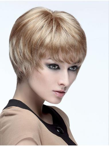 """8"""" Short Straight Monofilament Blonde Boycuts Synthetic Wig"""