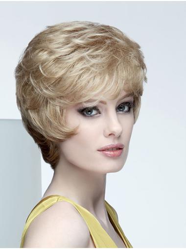 Wavy Short Blonde Synthetic Boycuts Mono Wig