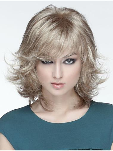 """Wavy 12"""" Monofilament Blonde With Bangs Synthetic Medium Wigs New Arrivals"""