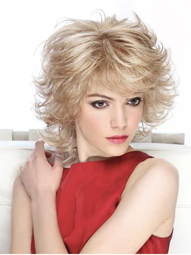 """Curly Monofilament Blonde 12"""" Synthetic Shoulder Length Classic Style Soft Ladies Wigs"""