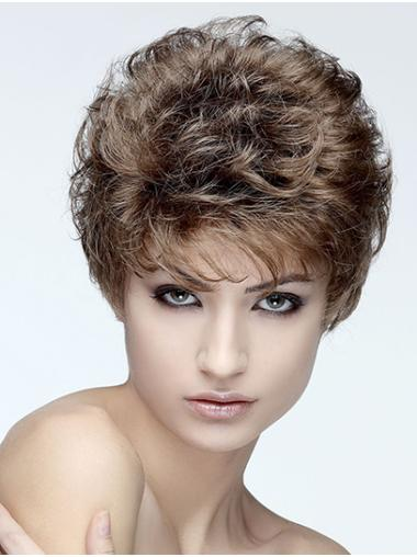 """Curly Capless Brown Synthetic 8"""" Classic Short Hair Wig"""