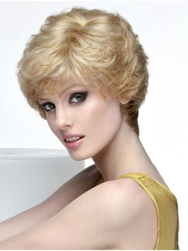"""Wavy Short Blonde Monofilament 8"""" With Bangs Lace Wig Products"""