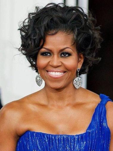 New Arrival First Lady Short Curly Wigs Michelle Obama Wig