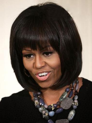 Layered Short Straight Michelle Obama Wigs Celebrity Wig