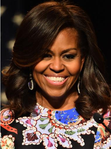 Shoulder Length Wavy Lace Front Michelle Obama Wigs