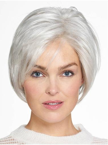 "Chin Length Monofilament Grey Straight 10"" Synthetic Beautiful Medium Wigs"