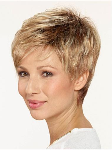 "Straight Boycuts Capless 8"" Blonde Good Quality Synthetic Wigs"