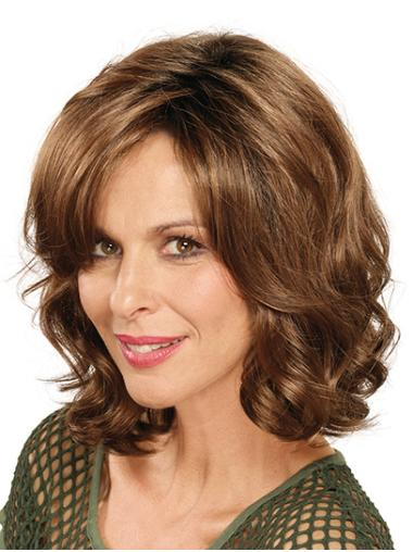 Shoulder Length Brown Without Bangs Curly Synthetic Lace Front Wig