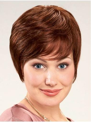 Short Auburn With Bangs Straight Synthetic Women Lace Front Wigs