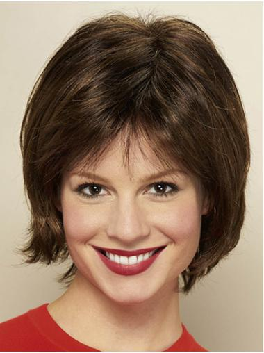 Brown Straight Chin Length Bobs Ladies Monofilament Wigs