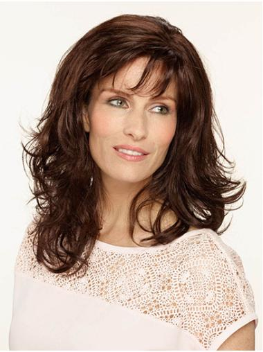 "Shoulder Length Monofilament Brown Wavy 14"" Synthetic Medium Length Wigs"